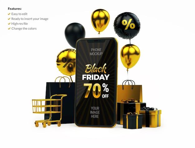 Bannière d'achat en ligne avec maquette de téléphone portable et trucs dorés sur blanc. concept de vendredi noir