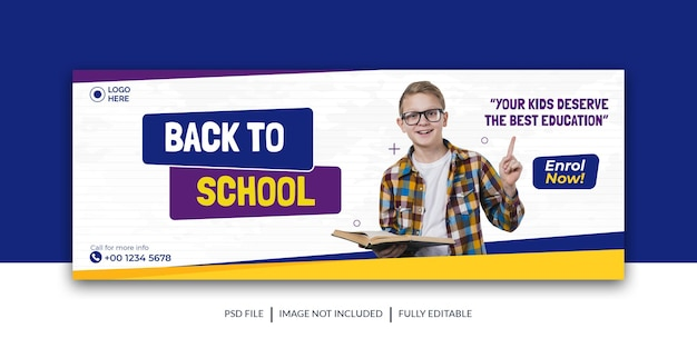 Bannière d'admission de couverture de médias sociaux pour la rentrée ou l'admission à l'école modèle premium