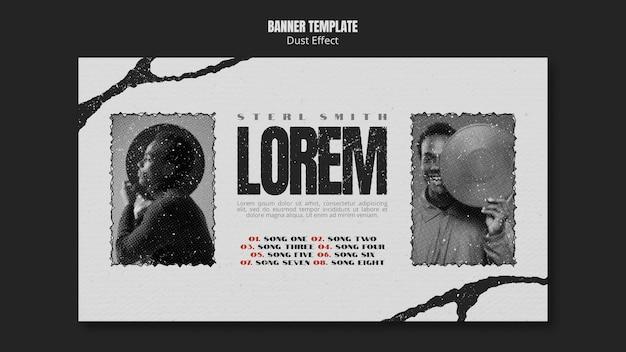 Bannière d'album de musique avec effet de poussière