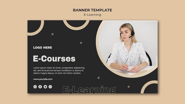 Bannière d'apprentissage en ligne avec photo