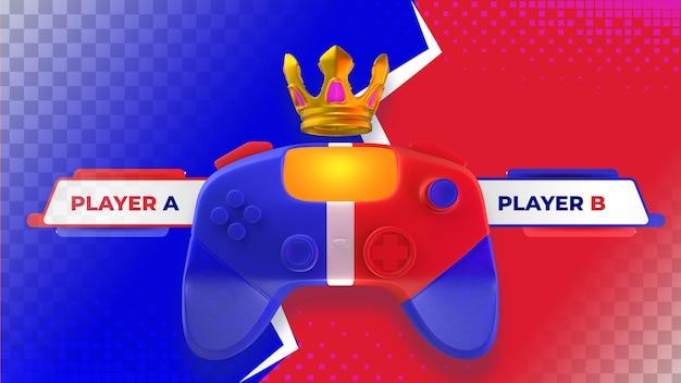 Bannière de bataille de jeu vidéo contre. illustration 3d