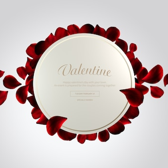 Bannière de cadre de forme de cercle de saint-valentin