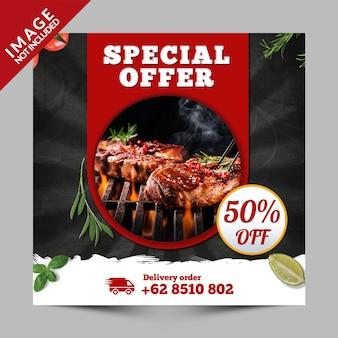 Bannière carrée, flyer ou publication instagram pour la restauration rapide, restaurants à emporter