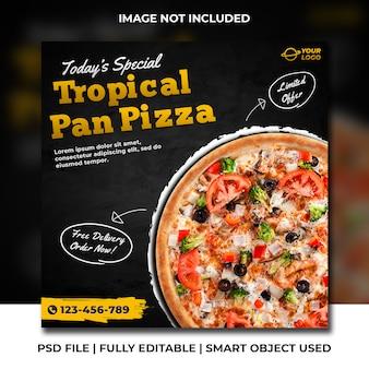 Bannière carrée de médias sociaux de pizza tropicale