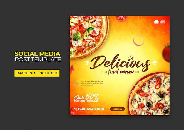 Bannière carrée de pizza pour les médias sociaux premium psd
