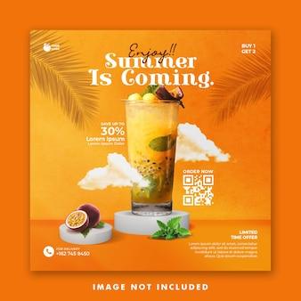 Bannière carrée de publication de médias sociaux de modèle d'été pour le menu de boissons