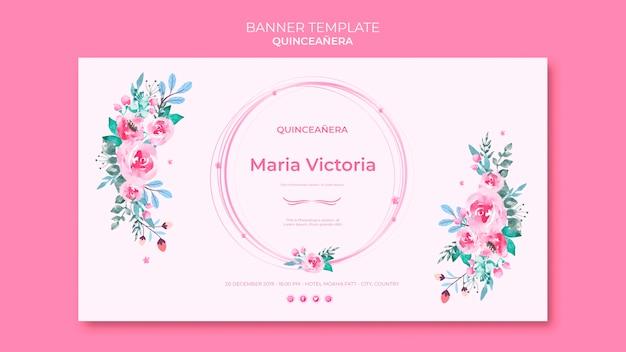 Bannière de célébration de quinceañera colorée