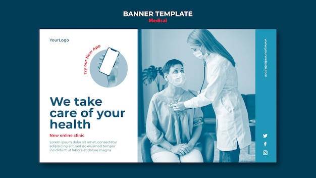 Bannière de clinique médicale en ligne