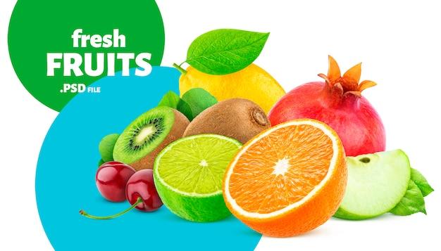 Bannière de collection de fruits et baies