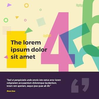 Bannière colorée de memphis square pour les médias sociaux. parfait pour anniversaire, bannière web, vente,