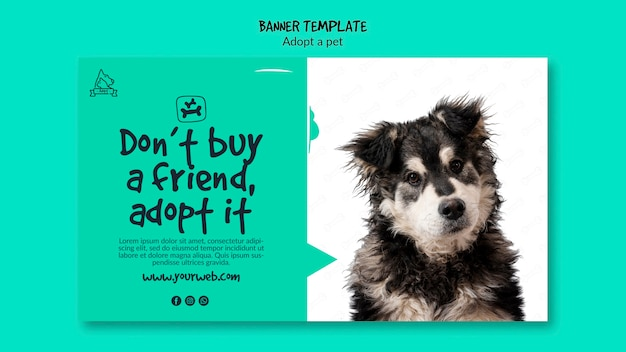 Bannière avec concept d'adoption pour animaux de compagnie