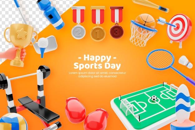Bannière de concept de vente d'équipement de jour de sport heureux rendu 3d