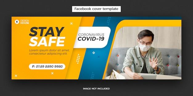 Bannière de conception de la couverture facebook du coronavirus