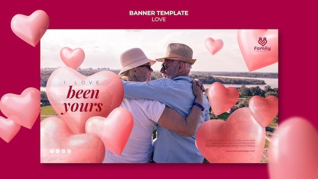 Bannière de couple de personnes âgées amoureux