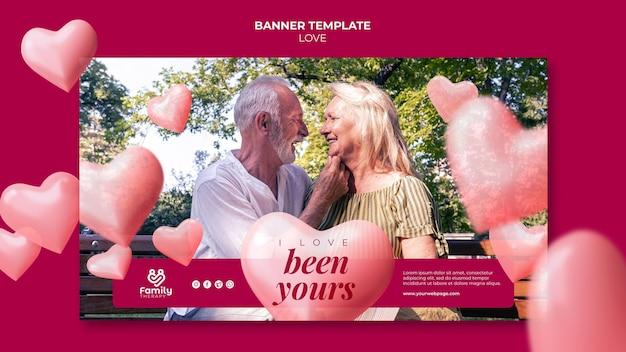Bannière de couple de personnes âgées