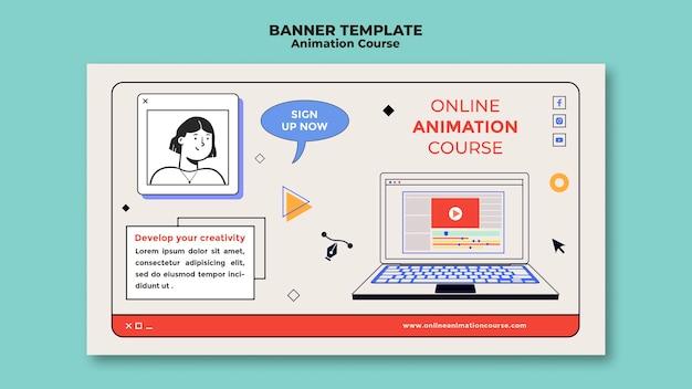 Bannière de cours d'animation en ligne