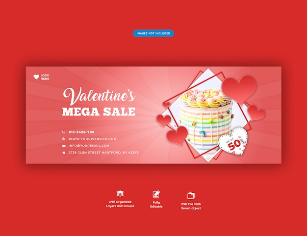 Bannière de couverture facebook pour la vente de la saint-valentin