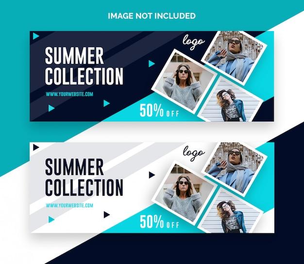 Bannière de couverture facebook de vente de mode