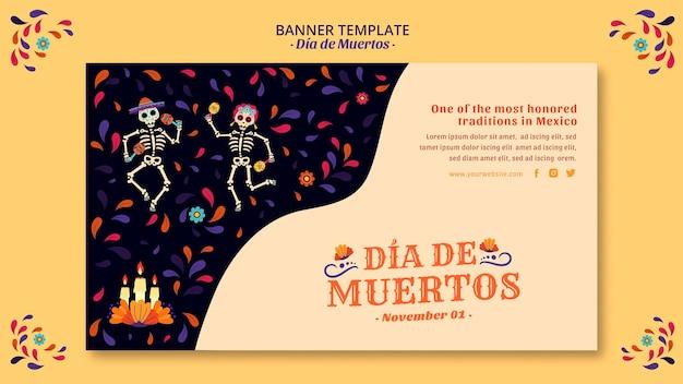 Bannière de culture squelette et confettis mexicain