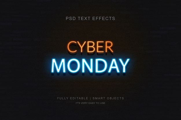 Bannière cyber monday et effet de texte néon photoshop