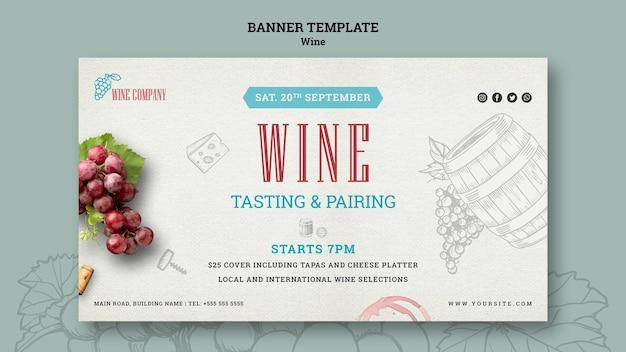Bannière de dégustation de vin