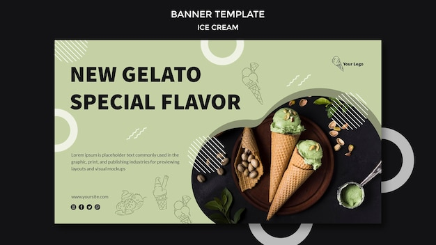 Bannière avec un design de crème glacée