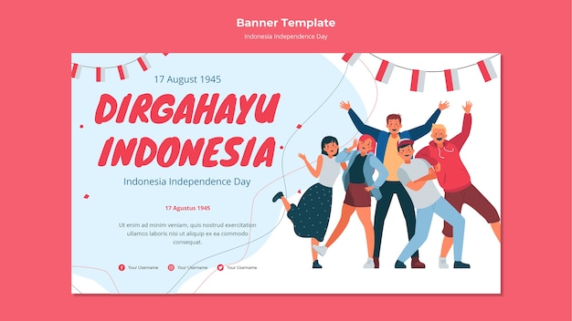 Bannière du jour de l'indépendance de l'indonésie