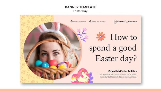 Bannière du jour de pâques avec photo