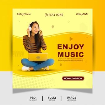 Bannière élégante de publication de médias sociaux enjoy music