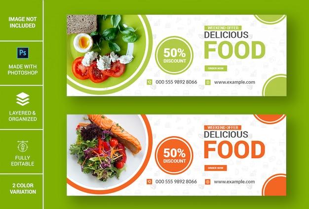 Bannière facebook de délicieux plats