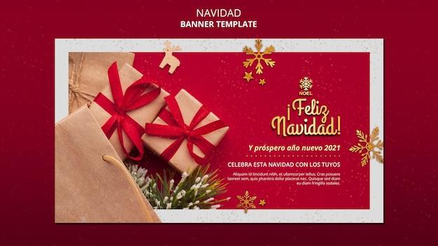 Bannière feliz navidad avec photo
