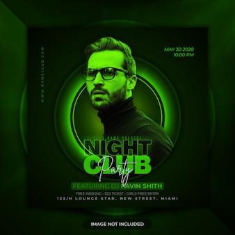 Bannière de fête de club de nuit flyer premium médias sociaux