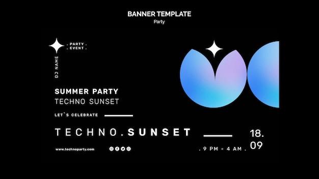 Bannière de fête de musique techno