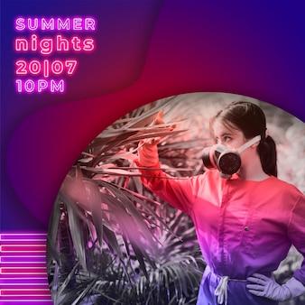 Bannière de fête des nuits d'été dans le style des néons