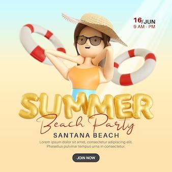 Bannière de fête de plage d'été avec bouée de sauvetage de personnage de femme 3d