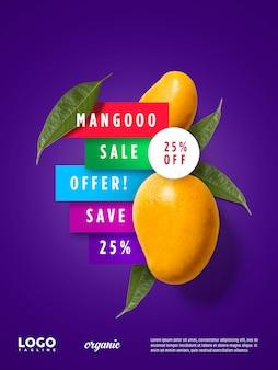 Bannière flottante de publicité de mangue