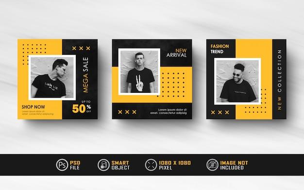 Bannière de flux de publication de médias sociaux instagram minimaliste noir jaune