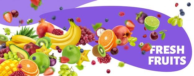 Bannière de fruits et baies tombant