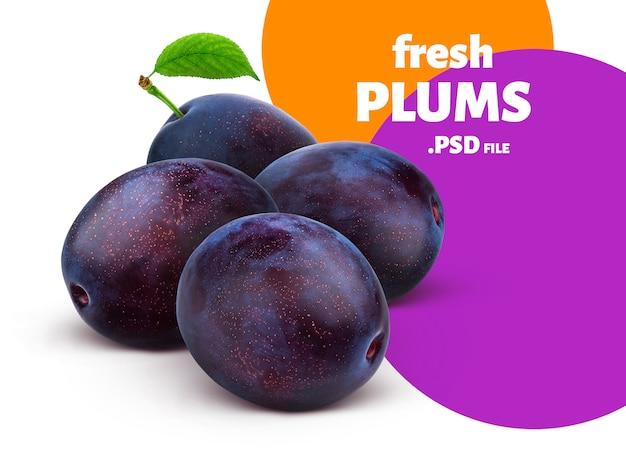 Bannière de fruits de prunes fraîches