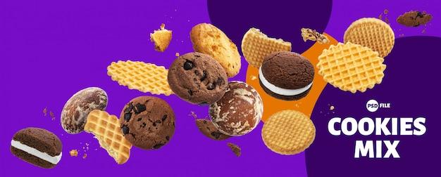 Bannière de gâteaux, biscuits, craquelins et gaufres