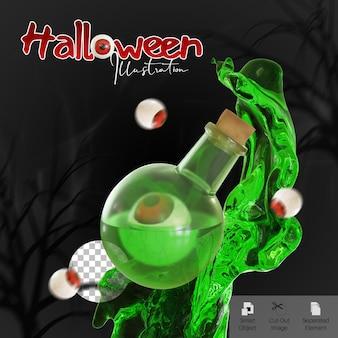 Bannière d'halloween avec une bouteille de potion verte et des globes oculaires