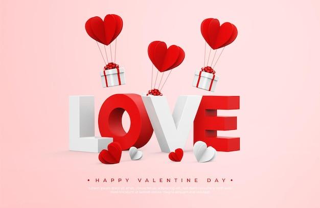 Bannière happy valentine day avec rendu d'objets 3d