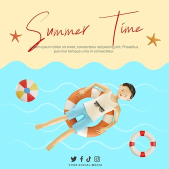 Bannière de l'heure d'été avec personnage 3d flottant sur la plage à l'aide d'une bouée de sauvetage