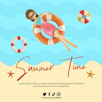 Bannière de l'heure d'été avec personnage de femme 3d flottant sur la plage à l'aide d'une bouée de sauvetage