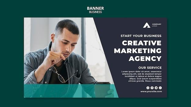 Bannière horizontale de l'agence de marketing