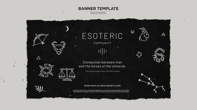 Bannière horizontale de l'artisanat ésotérique