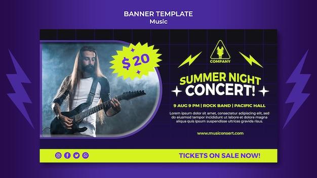 Bannière horizontale au néon pour le concert de nuit d'été