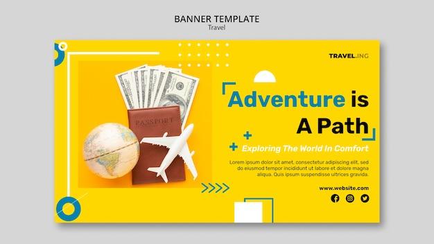 Bannière horizontale d'aventure de voyage
