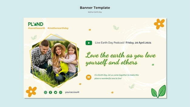 Bannière horizontale de célébration du jour de la terre mère