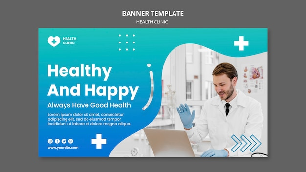 Bannière horizontale de la clinique de santé